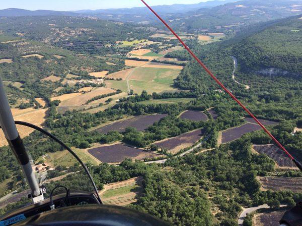 Voler au dessus de la lavande en ULM